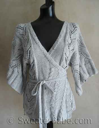 Cables and Lace Kimono Wrap Cardigan knitting pattern